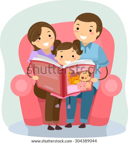 Stickman Illustration of a Family Reading a Book Together - stock vector