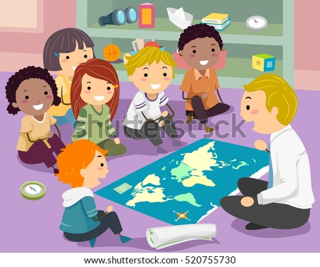 Stickman Illustration of a Group of Preschool Kids Listening to Their Geography Teacher