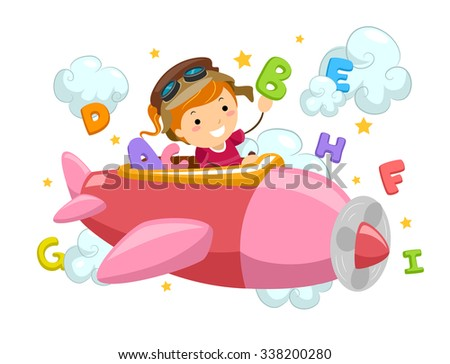Stickman Illustration of a Little Girl Flying an Airplane Surrounded by Letters and Clouds - stock vector