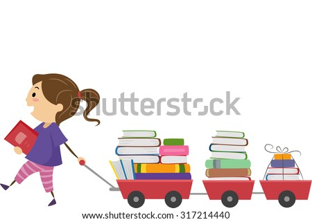 Stickman Illustration of a Little Girl Pulling a Cart Full of Book - stock vector