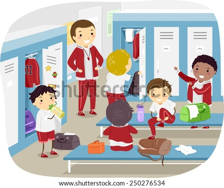 Stickman Illustration of Boys Changing in the Locker Room - stock vector