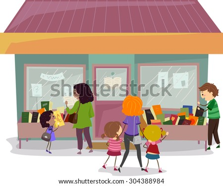 Stickman Illustration of Families Checking Books in a Book Sale