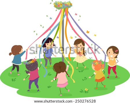 Stickman Illustration of Girls Dancing Around a Maypole - stock vector