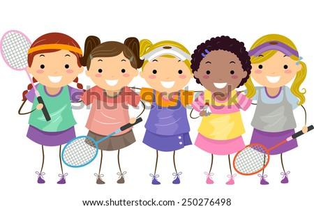 Stickman Illustration of Girls in Badminton Gear - stock vector