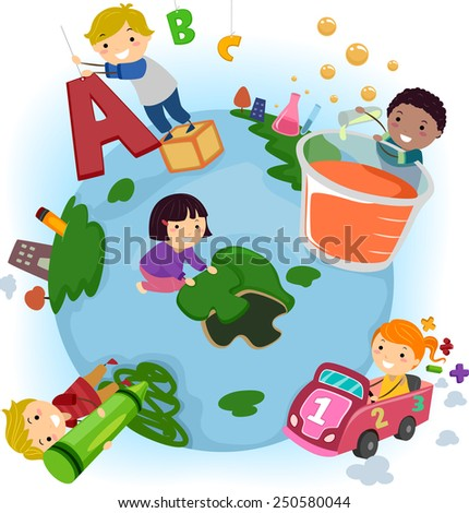 Stickman Illustration of Kids Doing Common Activities at School - stock vector