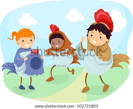 stickman illustration kids dressed chickens hopping stock vector
