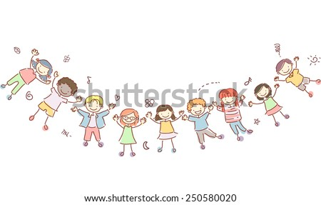 Stickman Illustration of Kids Forming a Human Banner