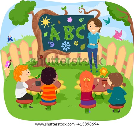 Stickman Illustration of Kids Having Their Class in the Garden - stock vector