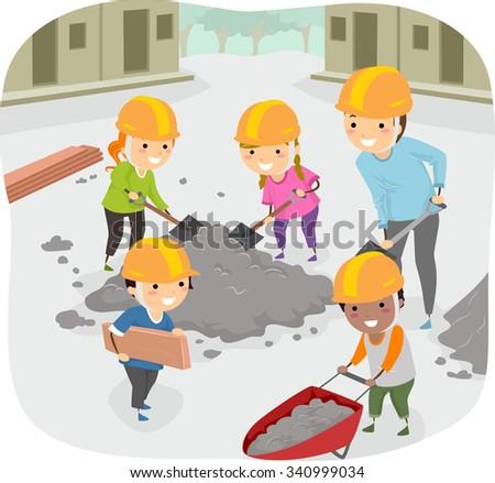 Stickman Illustration of Kids Helping Their Teacher Perform Community Service - stock vector