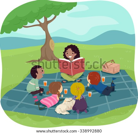 Stickman Illustration of Kids Listening to an Adult Reading a Storybook - stock vector