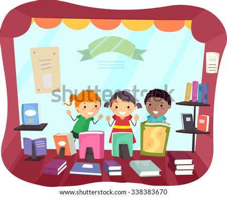 Stickman Illustration of Kids Peeking from the Window of a Bookstore - stock vector