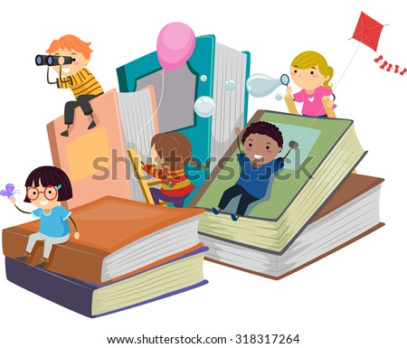 Stickman Illustration of Kids Playing Near Giant Books - stock vector