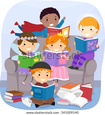 Stickman Illustration of Kids Reading Fantasy Books - stock vector