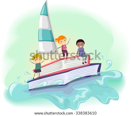 Stickman Illustration of Kids Riding a Boat Made from a Book - stock vector