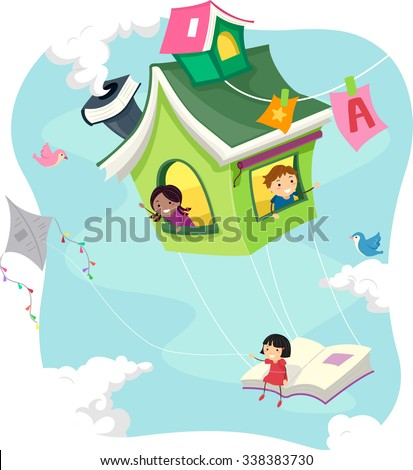 Stickman Illustration of Kids Riding a Flying Book House - stock vector