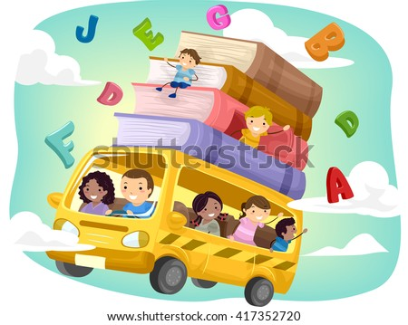 Stickman Illustration of Kids Riding a Flying Bus - stock vector