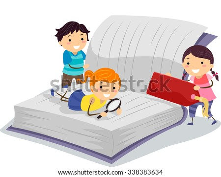 Stickman Illustration of Little Kids Using a Magnifying Glass to Read a Book - stock vector
