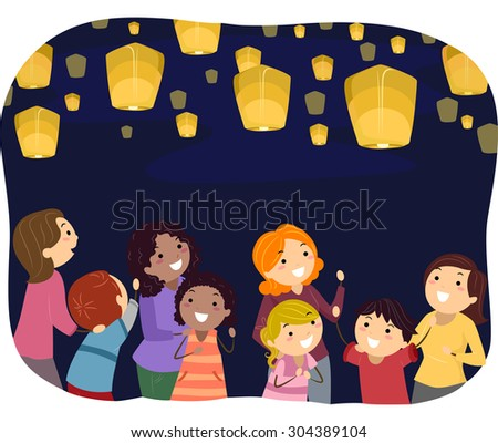 Stickman Illustration of Parents Watching Floating Lanterns with Their Kids