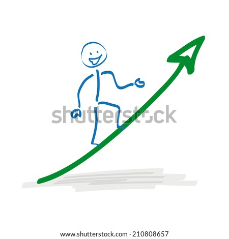 Stickman on the ascending arrow on the white background. Eps 10 vector file.