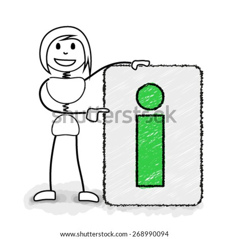 Stickman pointing to information board. Concept image for creative business ideas