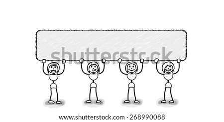 Stickman team promotes with blank board. Concept image for several business ideas - stock vector