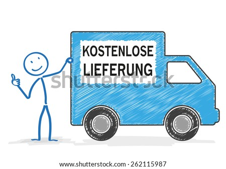 "Stickman with shipping car on the white. German text ""kostenloser Lieferung"", translate ""free shipment"". Eps 10 vector file."