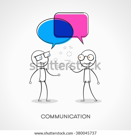 Stickman with speech bubbles. Doodle vector illustration. Communication concept. The file is saved in the version 10 EPS.