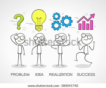 Stickman with with a question mark, bulb, gears and chart. Doodle vector illustration. Way to success concept. The file is saved in the version 10 EPS.