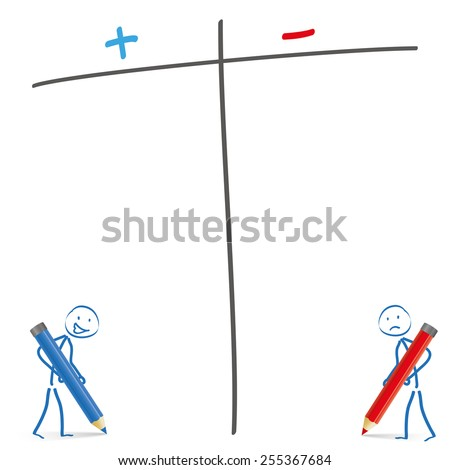 Stickmen with pencils and pro and contra list on the white background. Eps 10 vector file. - stock vector