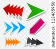 Sticky collection of toothy arrows. Vector EPS10 illustration. - stock vector