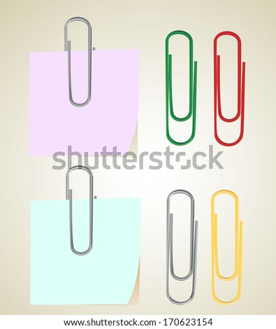 sticky note with paper clip - stock vector