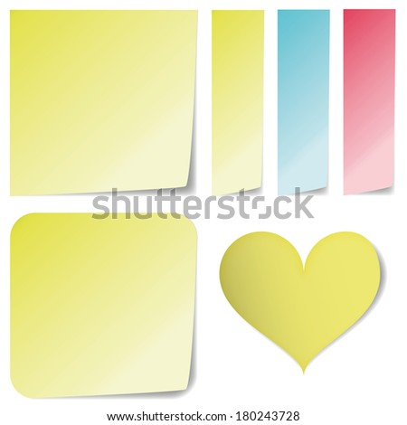 sticky notes different shapes isolated on white
