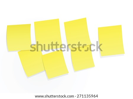 Sticky notes on white board vector illustration. - stock vector