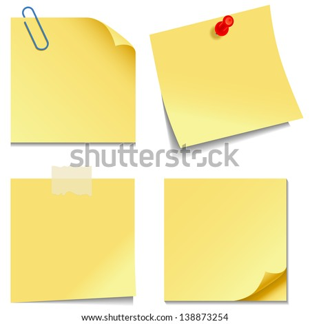 Sticky Notes - Set of yellow sticky notes isolated on white background.  Vector illustration, Eps10. - stock vector