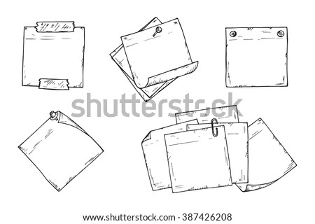 Sticky notes Vector set. Hand drawn doodle paper sheets for messages. Collection of memos blank - stock vector