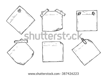 Sticky Notes Vector Set Hand Drawn Stock Photo Photo Vector