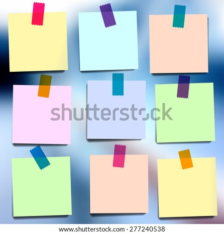 Sticky notes wallpapers on blurred vector background - stock vector