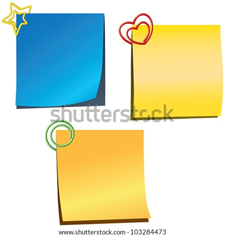 Sticky notes with paperclips