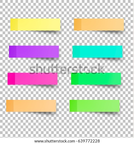 Sticky reminder notes realistic colored paper sheets office papers with shadow
