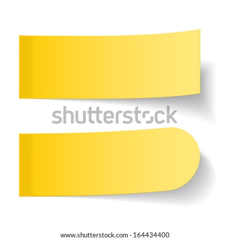 Sticky yellow papers on white background, vector eps10 illustration - stock vector