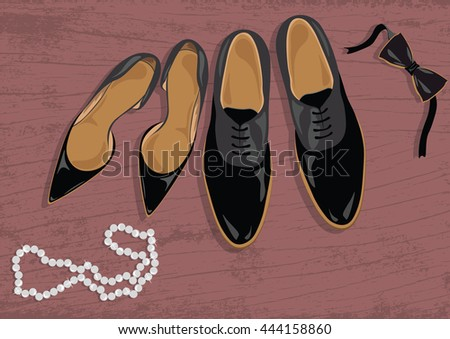 Stiletto and black leather men's shoes. Black elegant shoes Vector - stock vector
