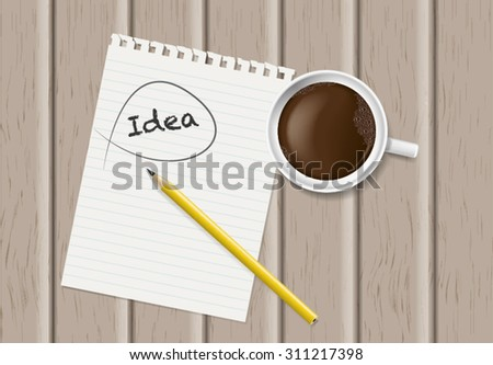 Still life, business, education concept. Office supplies, mug with coffee, notepad, staple and pencil on a wooden table. top view, isolate - stock vector