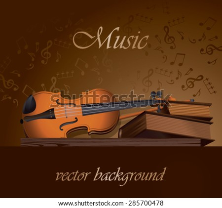 Still life of books and violin - stock vector