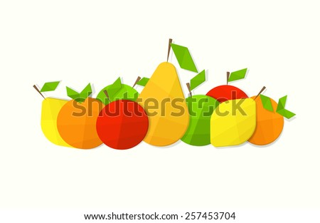 Still life of fruit flat - stock vector