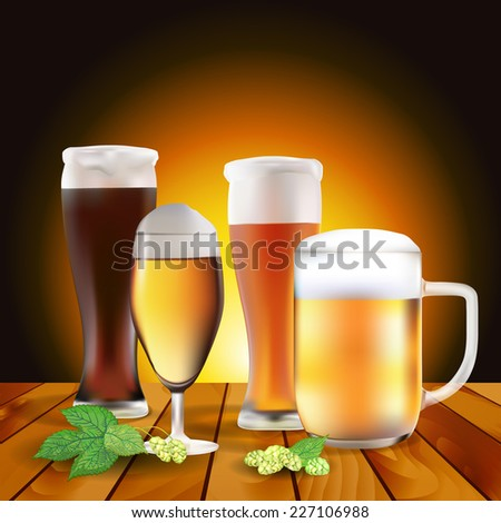 Still life with beers and hops on wooden table - vector illustration - stock vector