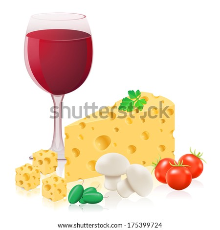 Cartoon Cheese Glass Wine Together Vector Stock Vector 605403326 ...