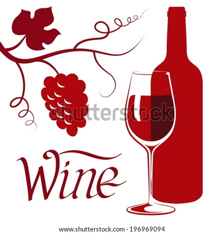 still life with red wine - stock vector