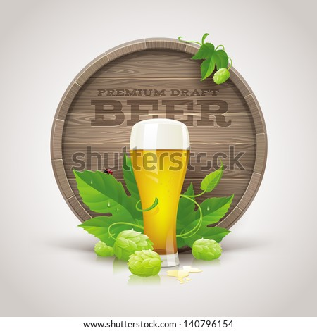 Still life with wooden cask, beer glass and ripe hops and leaves - vector illustration - stock vector