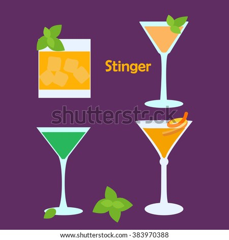 Stinger alcohol cocktail in different glasses - vector illustration for bar menu, restaurant decoration, party poster