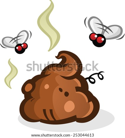 Stinky Poop Pile with Flies Cartoon
